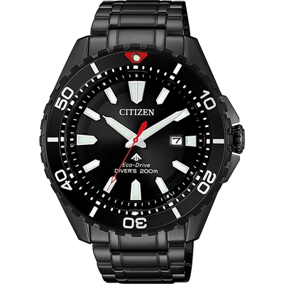 CITIZEN 星辰 PROMASTER 光動能200米潛水錶-黑/44mm BN0195-54E