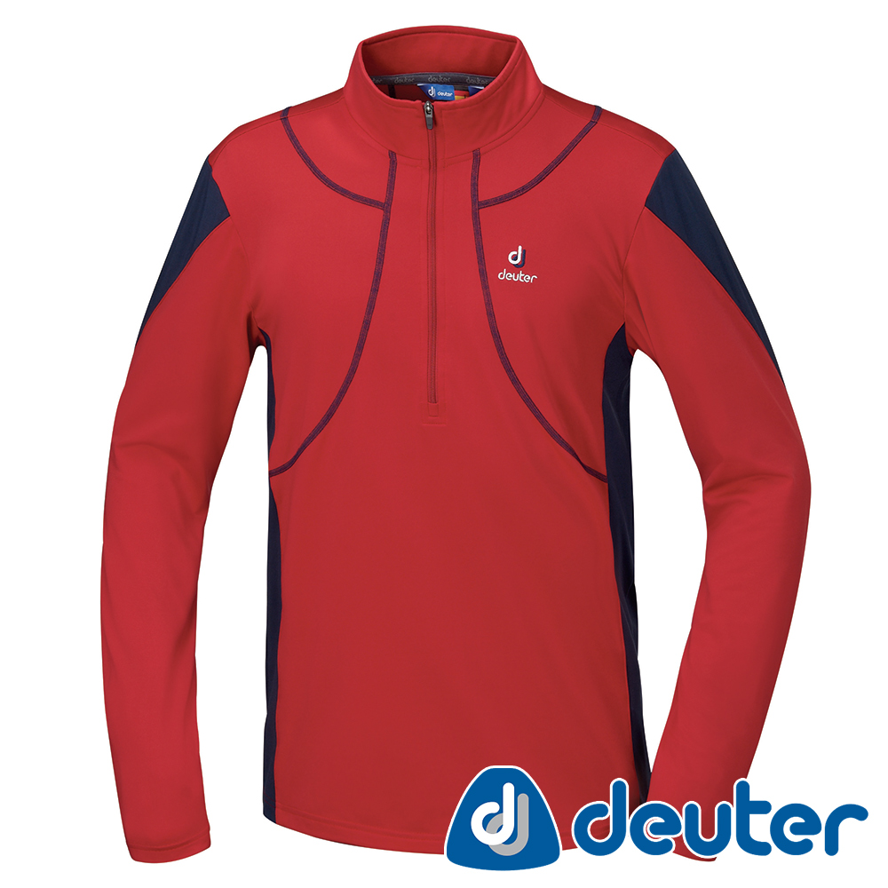 【ATUNAS 歐都納】德國DEUTER保暖長袖男拉鍊衫DE-P1505M漿果紅藍