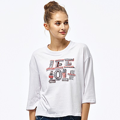 Lee 101+刺繡七分袖圓領TEE/101+白色-女款