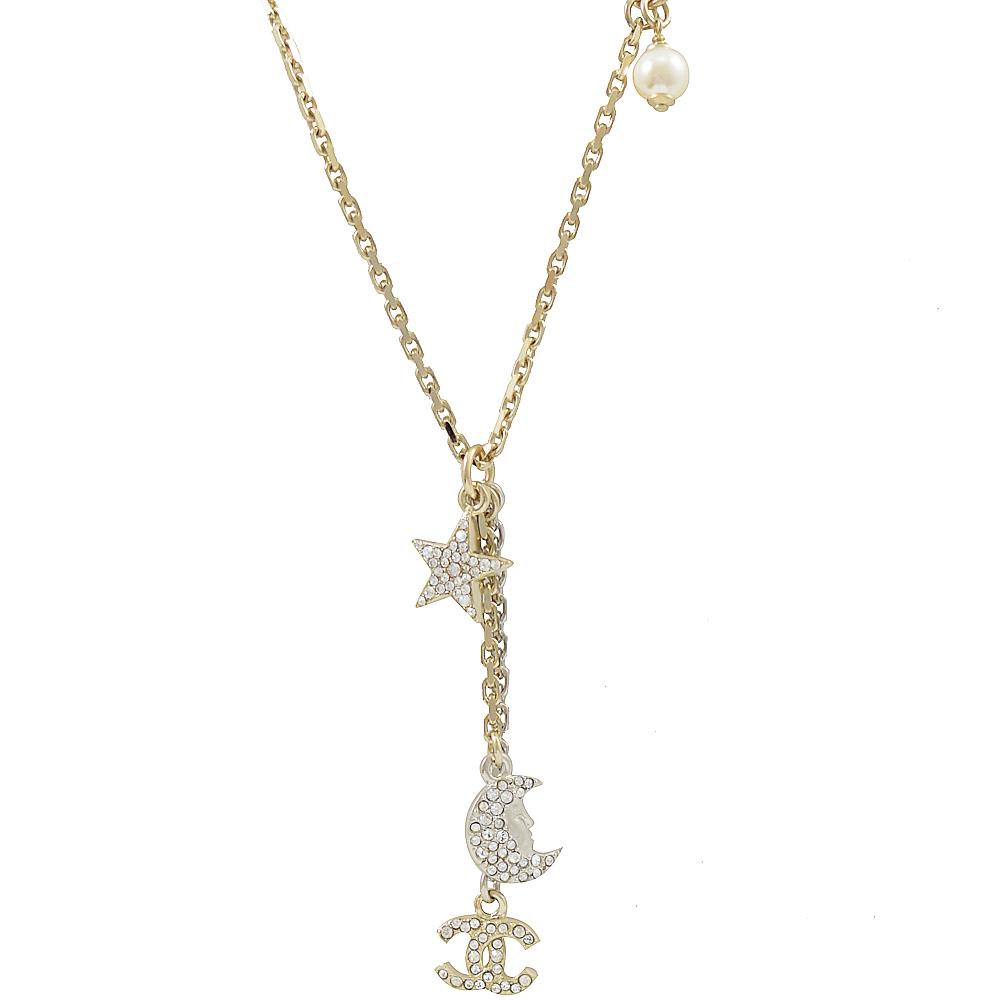 CHANEL 經典雙C星月水鑽墜飾金銀拼色項鍊