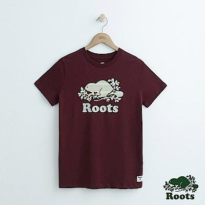 女裝Roots 條紋庫柏海狸短袖T恤-紅