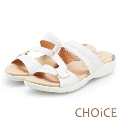 CHOiCE 造型縫線牛皮厚底拖鞋 白色