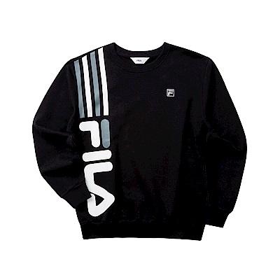 FILA 男長袖圓領T恤-黑色 1TET-5504-BK