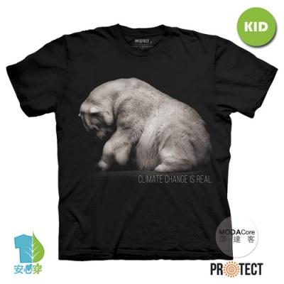 摩達客-美國The Mountain保育系列拯救北極熊 兒童黑色純棉短袖T恤