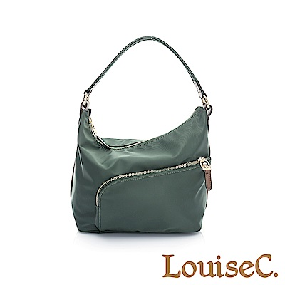 LouiseC. 簡約肩背小包(尼龍+牛皮)-綠色05N37-0040A08