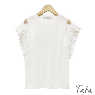 網紗蕾絲雕花袖針織上衣 共四色 TATA-F