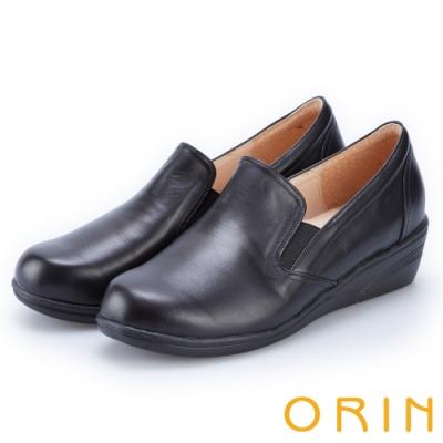 ORIN 率直簡約 柔軟素面牛皮休閒楔型鞋-黑色