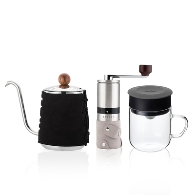 【PO:Selected】丹麥手沖咖啡三件組(咖啡壺-黑/玻璃杯240ml-灰/咖啡磨2.0)