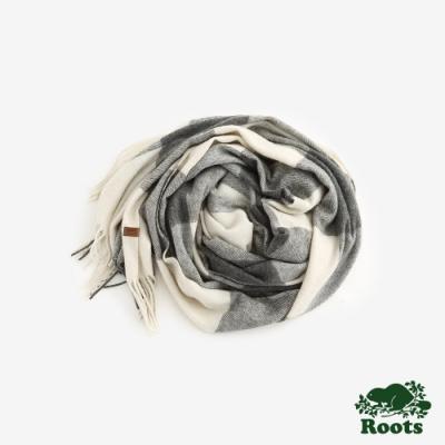 ROOTS配件- 經典格紋披巾 -白
