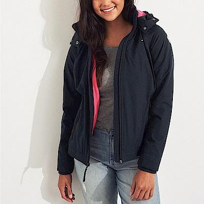 HCO Hollister 經典熱銷標誌鋪棉保暖連帽風衣外套(女)-深藍色