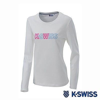 K-SWISS Long Sleeve T-Shirts印花長袖T恤-女-白