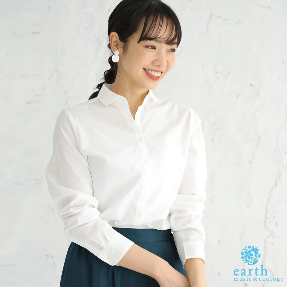 earth music 格紋/素面定番款防皺長袖襯衫
