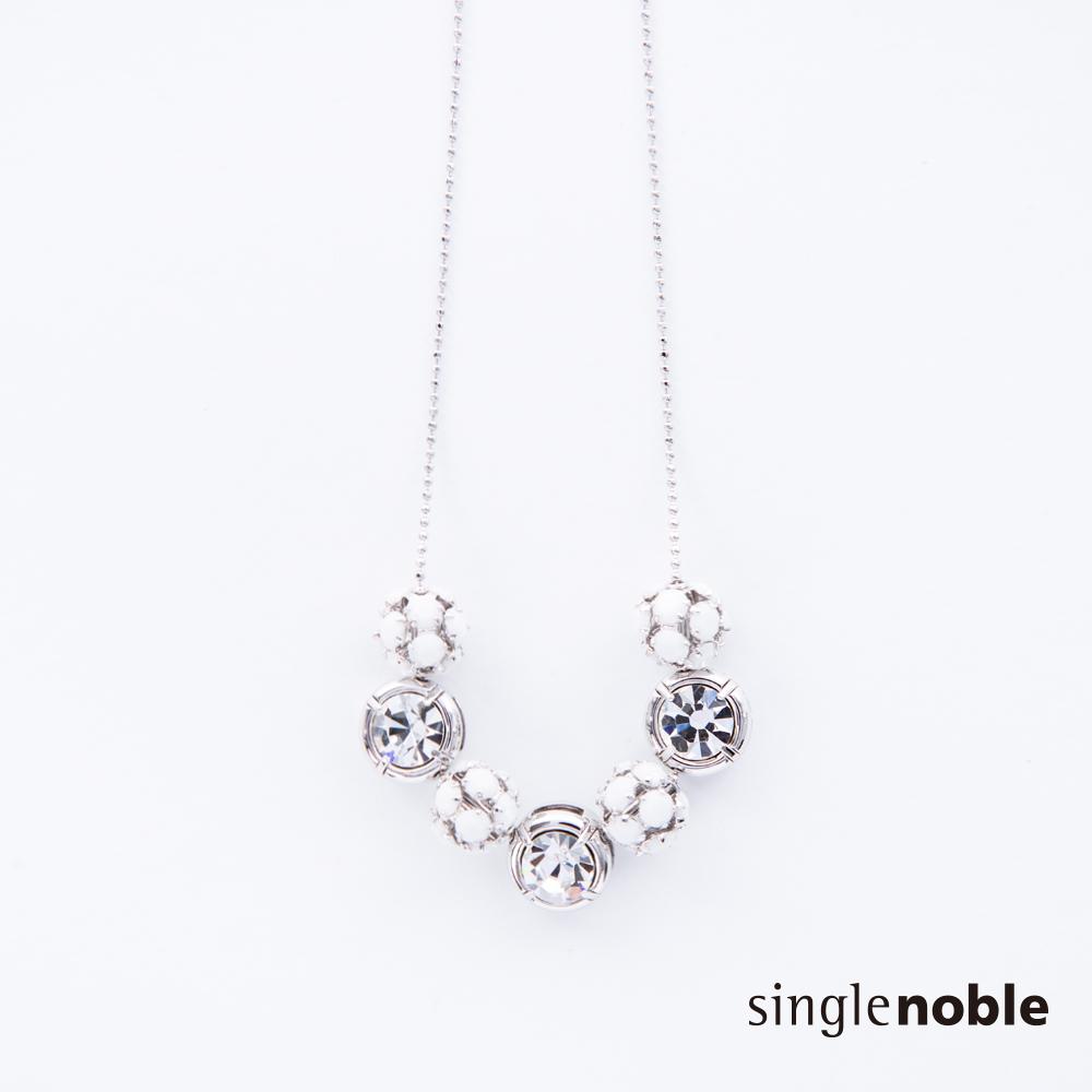 獨身貴族 白色極光鑽飾串接立體圓球項鍊(1色)