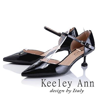 Keeley Ann 簡約美感~-甜美蝴蝶結造型尖頭中跟涼鞋(黑色-Asin系列)