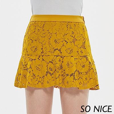 SO NICE俏麗荷葉蕾絲褲裙