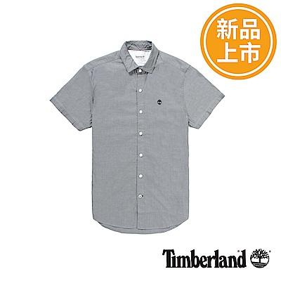 Timberland 男款灰色LANE RIVER牛津格子短袖襯衫