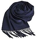 MOSCHINO 義大利製美麗諾羊毛字母LOGO刺繡高質感羊毛圍巾(海軍藍)