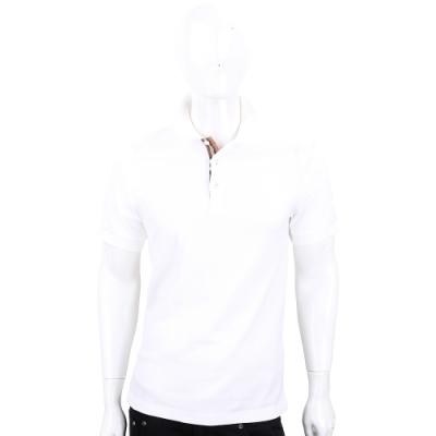 BURBERRY 格紋開襟棉質短袖Polo衫(白色)