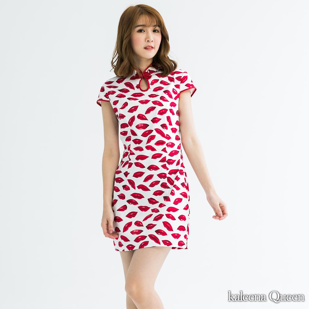 Kaleena Queen 性感唇印設計款旗袍-紅色