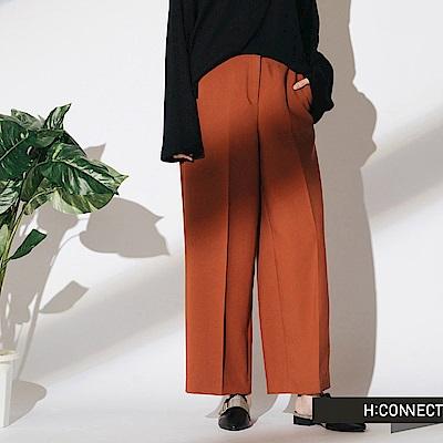 H:CONNECT 韓國品牌 女裝- 簡約後鬆緊寬褲-棕色