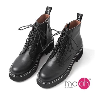 mo.oh拉鍊短靴綁帶軟皮厚底馬丁靴-黑