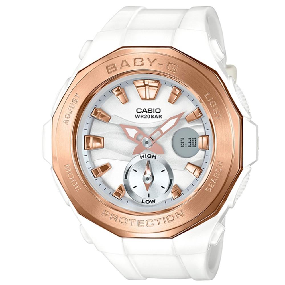 BABY-G 時尚風潮海灘豪華露營設計概念休閒錶(BGA-220G-7A)白X金45.5m @ Y!購物