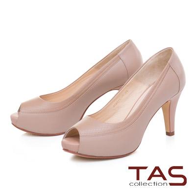 TAS素面壓紋羊皮魚口高跟鞋-質感卡其