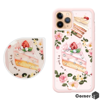 Corner4 iPhone 11 Pro 5.8吋奧地利彩鑽雙料手機殼-戀愛草莓蛋糕