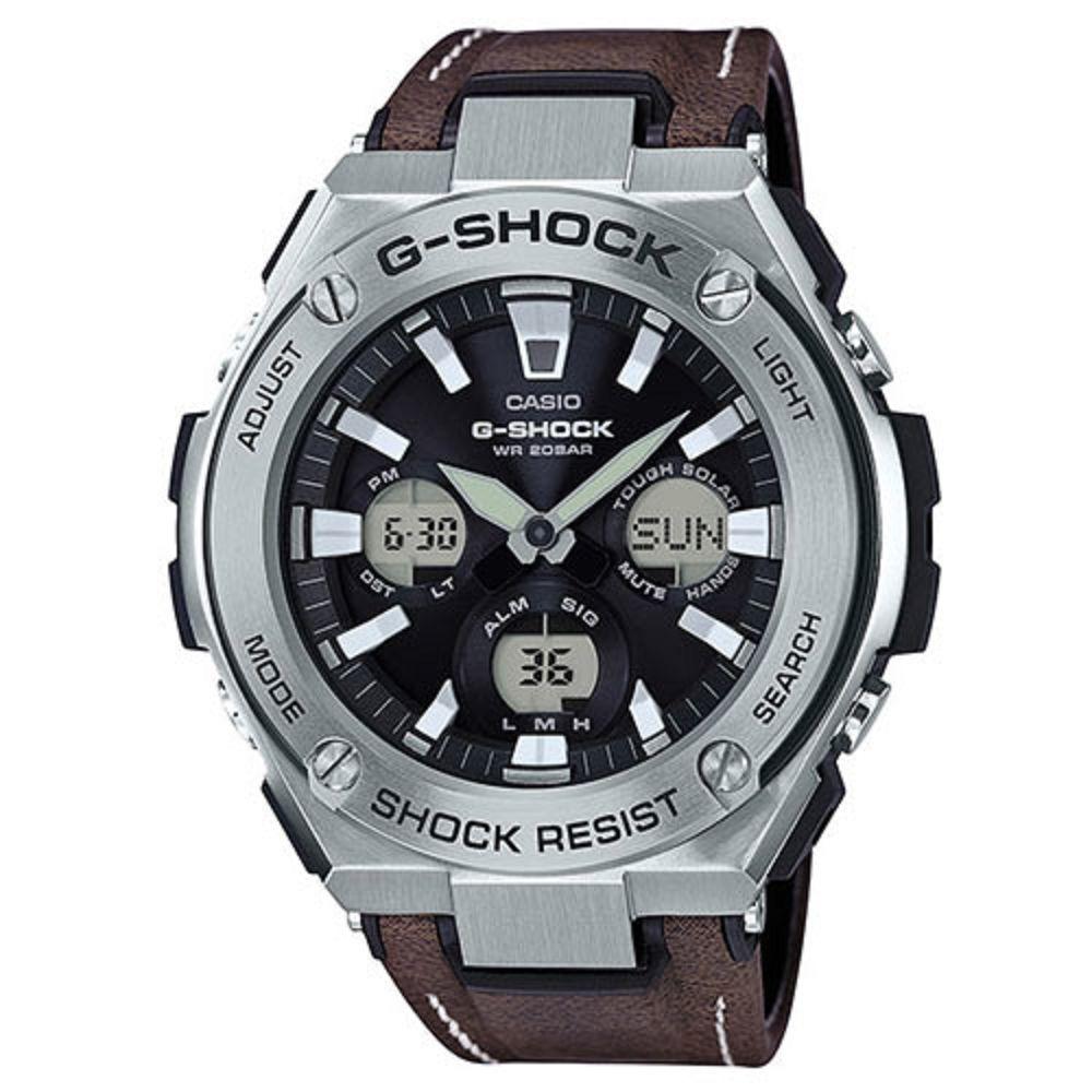 G-SHOCK創新突破分層防護絕對強悍休閒錶(GST-S130L-1A)咖啡皮革52.4mm