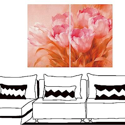 橙品油畫布 二聯 時尚無框畫掛畫-粉紅花卉 40x60cm