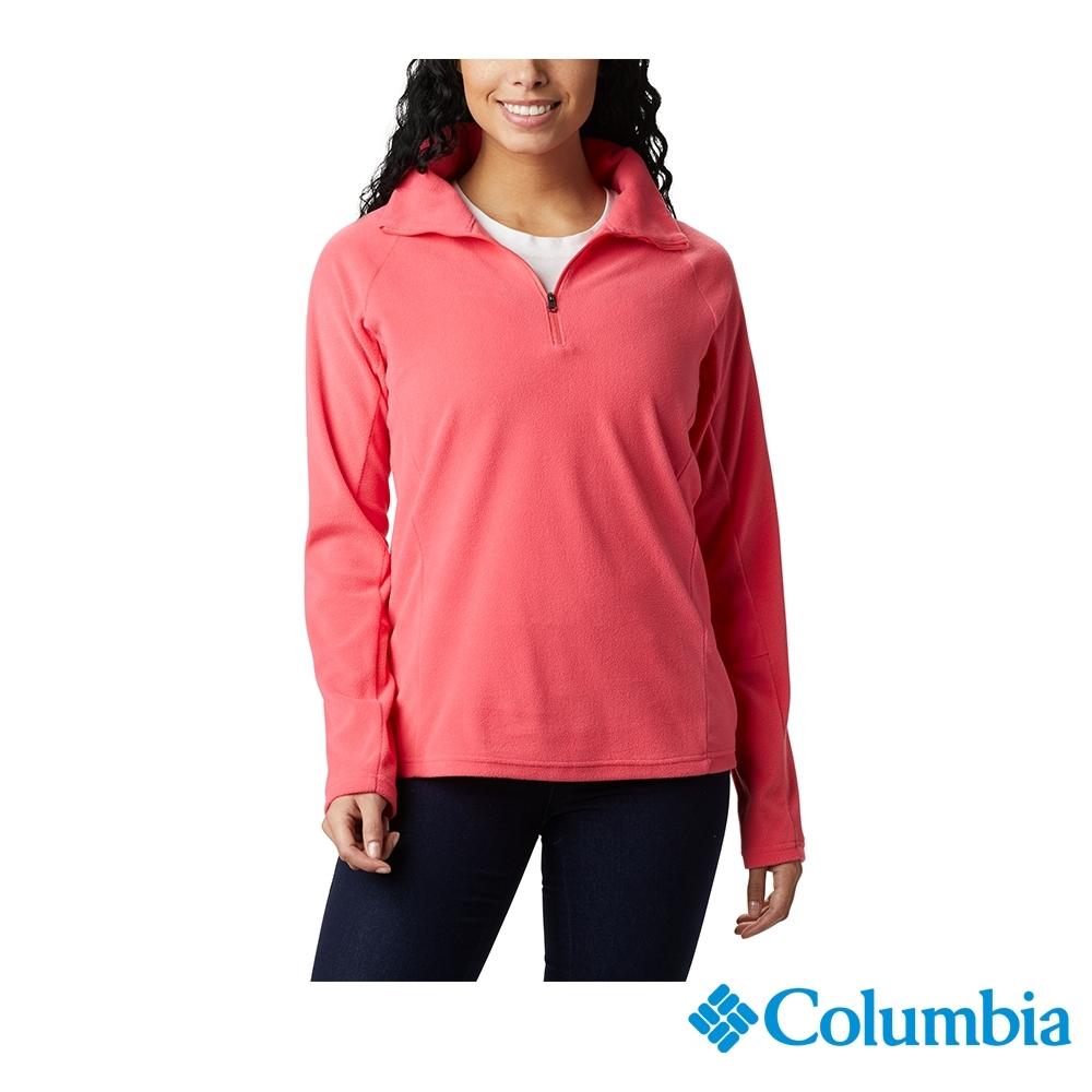 Columbia 哥倫比亞  女款-半開襟刷毛長袖上衣-桃紅色 UAK11310