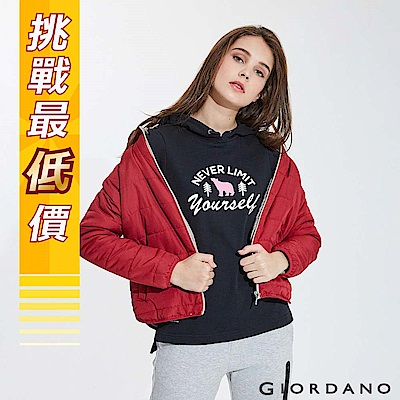 GIORDANO 女裝輕量素色連帽鋪棉外套-14 標誌紅