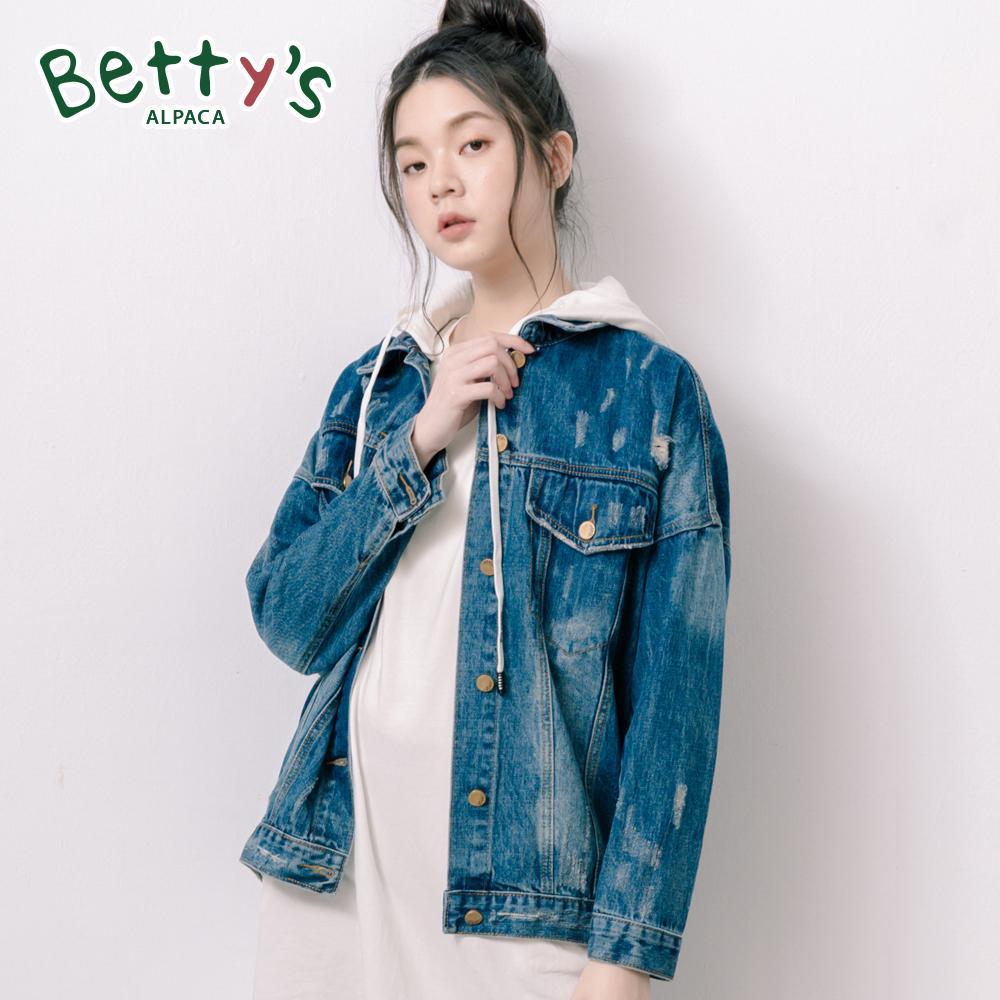 betty's貝蒂思 韓版寬鬆百搭牛仔外套(深藍)