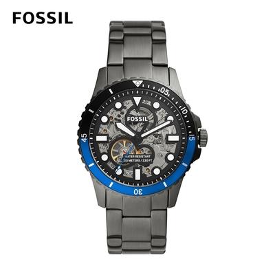 FOSSIL FB - 01 automatic 金屬質感機械鏤空手錶 槍灰不鏽鋼鍊帶 42MM ME3201