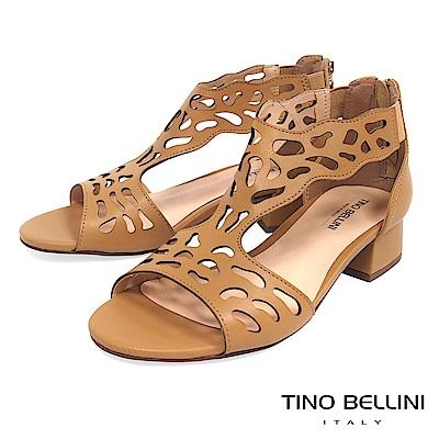 Tino Bellini 巴西進口不規則藝術鏤空低跟涼鞋 _ 淺棕