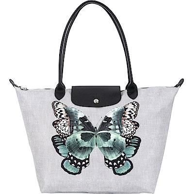 LONGCHAMP Le Pliage Papillon 蝴蝶牛仔帆布長提把水餃包