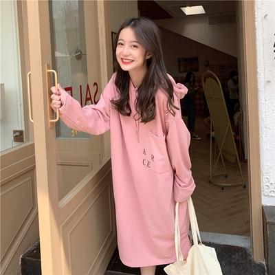 [CW.貓咪走路]韓版簡約長版純色帽T洋裝(KDD-383)