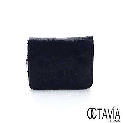 OCTAVIA 8 真皮 - 風化牛皮系列 樹的玩伴二折壓扣短夾 - 絕黑