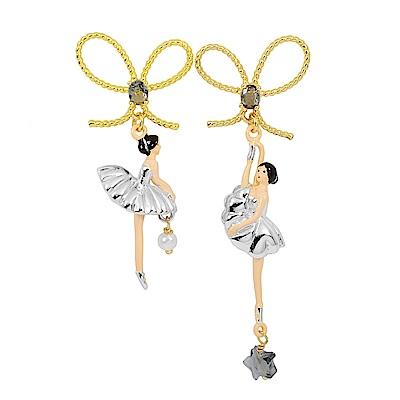 Les Nereides 水鑽蝴蝶結芭蕾舞女孩系列 銀色蓬蓬裙金色耳針式垂墜耳環