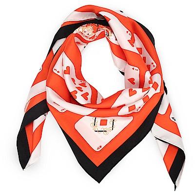 HERMES Jeu de Cartes撲克牌真絲披肩方型絲巾-橘紅色