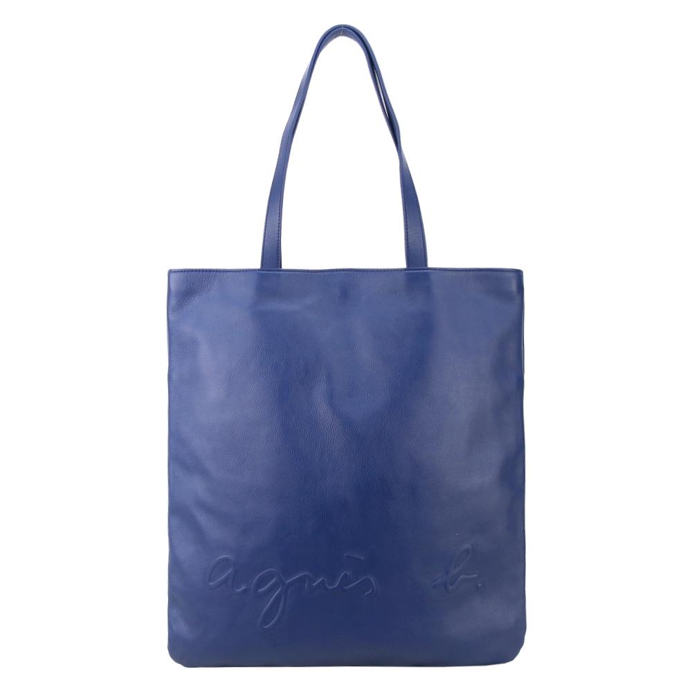 agnes b.壓紋logo皮革長型托特包(藍)