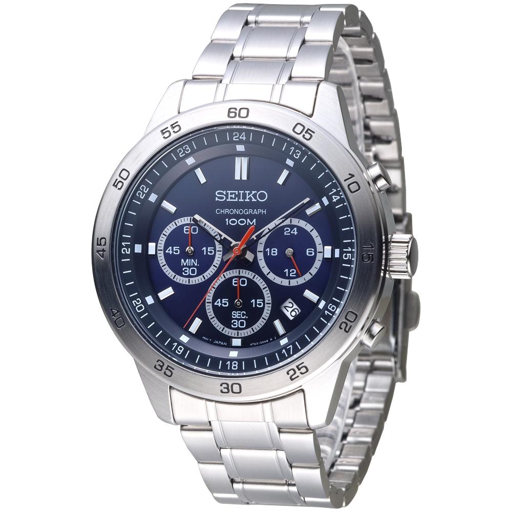 SEIKO 痞客運動風3眼計時腕錶-深藍(SKS517P1)/38mm