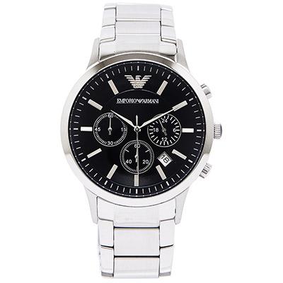 ARMANI Sportivo 輝煌時代三眼計時男性手錶(AR2434)-黑面 /42mm