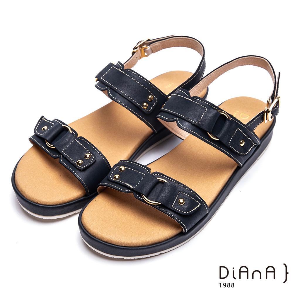 DIANA真皮鉚釘皮帶飾釦羅馬寬版涼鞋-異國風情-藍