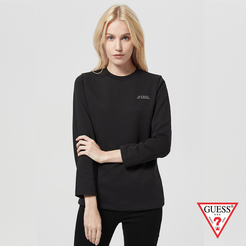 GUESS-女裝-雙色刺繡LOGO長袖上衣-黑 原價2990