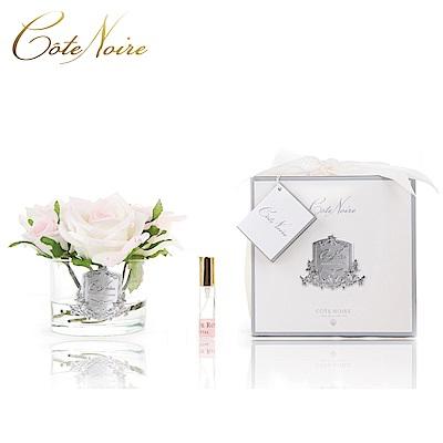 法國 CoteNoire 蔻特蘭 五朵粉白玫瑰香氛花透明瓶