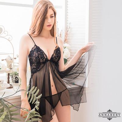 Annabery大尺碼誘惑黑色透視柔紗開襟二件式性感睡衣 黑 L-2L