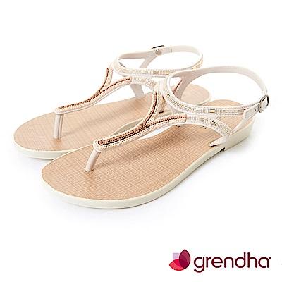 Grendha 異國情調T字帶串珠涼鞋-米白