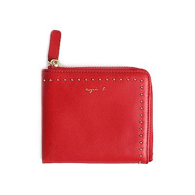 agnes b. Voyage L型鉚釘裝飾零錢包 (紅)