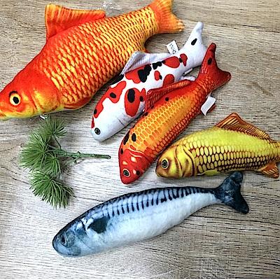 dyy》仿真超市魚市場薄荷貓咪玩具鯉魚 草魚 鯖魚小20cm